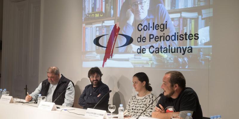 Franco, Évole, Uribe i Fernández, ponents de l'acte. Foto: Dani Codina