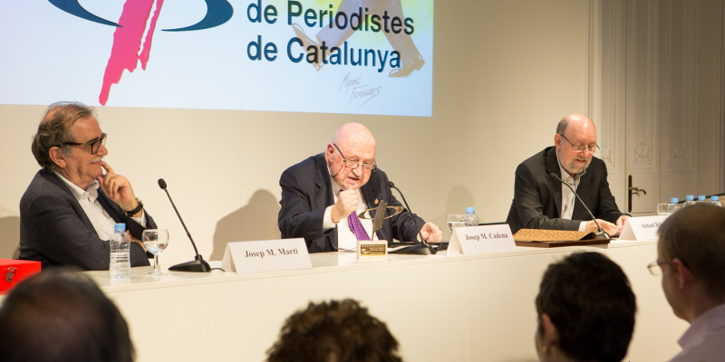 Un moment de l'acte on es va guardonar Cadena. Foto: Jordi Salinas
