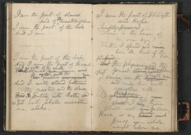 Un manuscrit amb alguns dels seus poemes