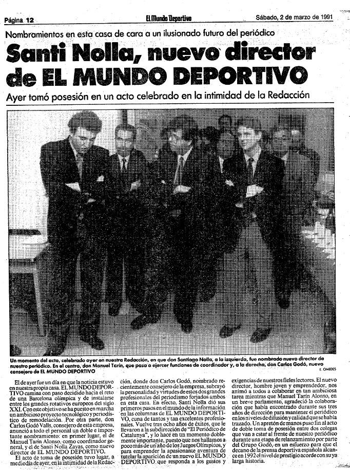 Santi Nolla Mundo Deportivo periodisme esportiu
